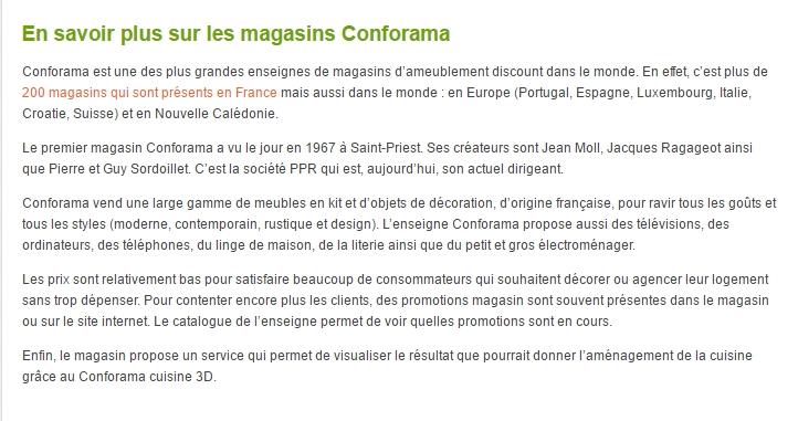 Extrait de la page Conforama sur le site Promo alert