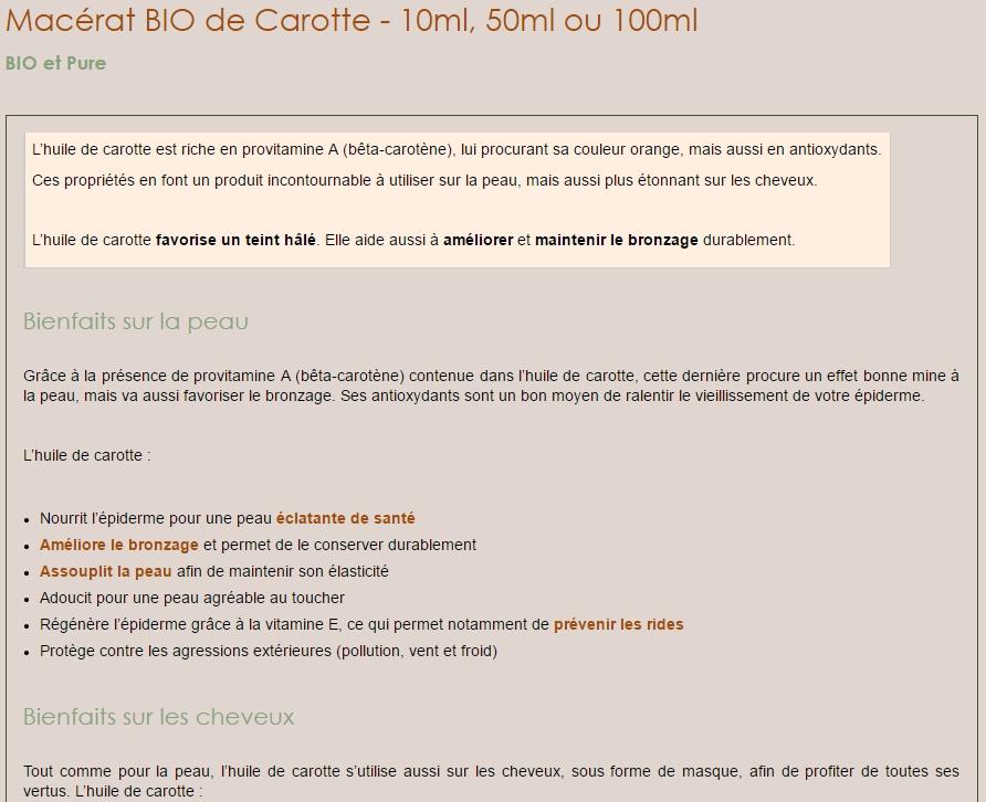 Extrait d'une fiche produit sur la boutique en ligne Maroc argan