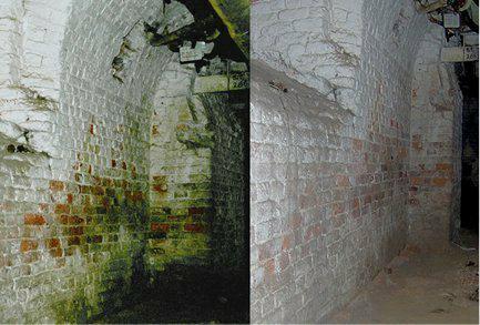 Eine Mauer vor und nach dem Anbringen der Elektroden.