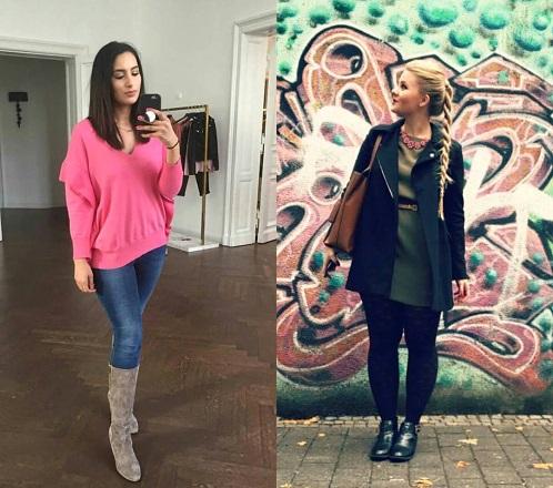 Links: Dounia Slimani, in ihrem neuen Outfit. Rechts: DominoKati, perfekt für den Tag gekleidet.
