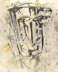 LACHENDE MASKE, Mischtechnik auf Leinwand, 80 x 100 cm, 2003