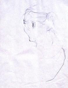 MÄDCHEN, Bleistift auf Papier, 30 x 40 cm, 1996