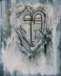 MEDITATIONSGESICHT II, Mischtechnik auf Leinwand, 70 x 100 cm, 2004