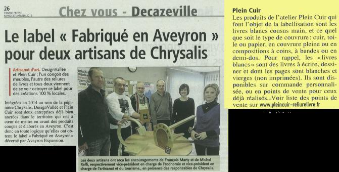 Articles Centre-Presse - Midi-Libre du 27 janvier 2015