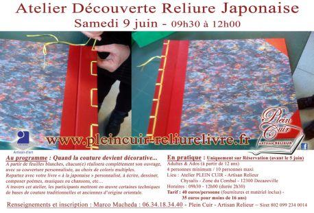 Atelier Découverte RELIURE JAPONAISE Aveyron - artisanat livre - reliure artisanale - animations reliure