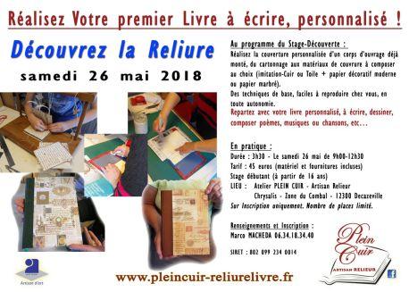Stage Découverte Reliure artisanale - artisanat livre -