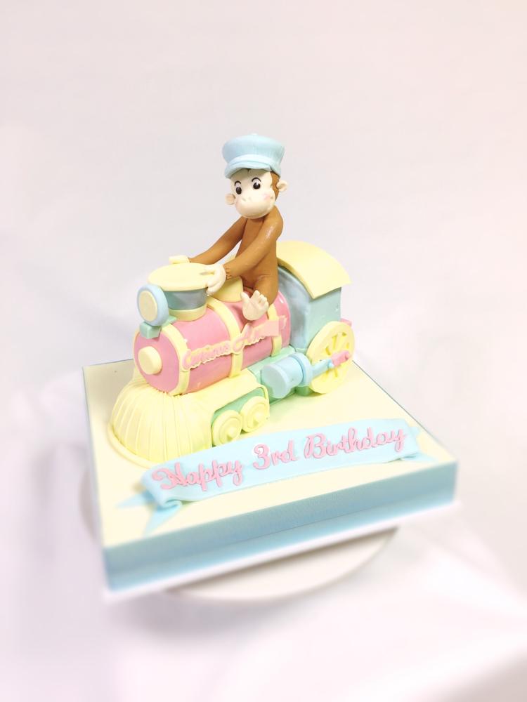 おさるのジョージ機関車に乗っているよ🐒#パステルカラー #おさるのジョージ #機関車 #誕生日ケーキ #3歳 #乗り物 #動物 #キャラクター #curiousgeorge #cake #pastel #pastelcolors #locomotive #3rd #character #birthdaycake #gateau #décorateur #pateasucre #pastadizucchero #fondantwork #fondantcake #japanmade #🇯🇵