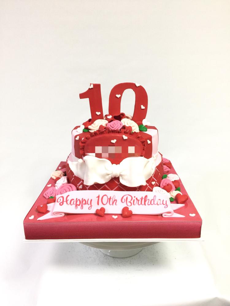 20歳まで半分の10歳 ハーフバースデーケーキ🎂❤️#ハーフバースデー #10歳 #誕生日ケーキ #ケーキ #可愛いイメージ #birthdaycake #redpink #cake #gateau #torte #10th #🇯🇵