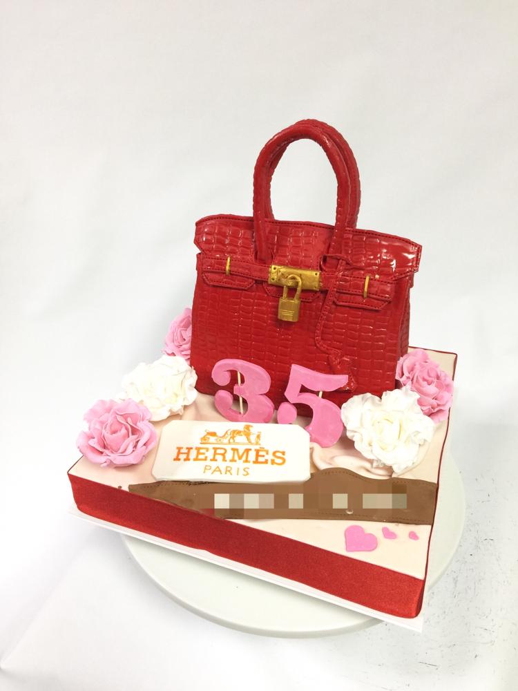 #バーキン #赤色 #誕生日ケーキ #ファッション #hermescake #bagcake #fondantcake #birthdaycake #red #35