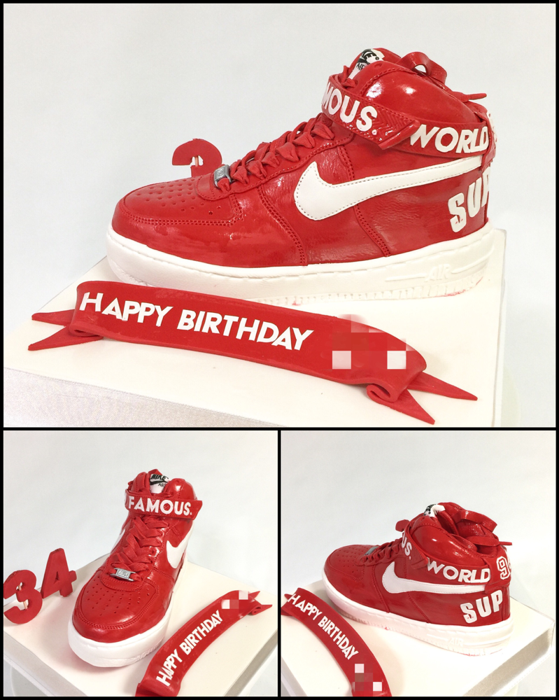 This is a cake❤️ #supreme  #nikeair #kicks  #airforce1 #airforce1supreme #airforceone #🇯🇵 #シュプリーム #スニーカー #redkicks #エアーフォース #スニーカーケーキ #スニーカー中毒 #ケーキ #誕生日ケーキ #スニーカー大好き #fashion  #cake #fondantcake  #pateasucre #sekerhamuru #pastadizucchero