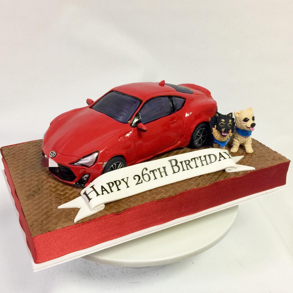 Toyota86 車ケーキと 可愛いワンちゃん❤️ #toyota86 #トヨタ86 #toyota #carcake #redcar #car #dog #車ケーキ #誕生日ケーキ #可愛いワンちゃん #犬 #砂糖細工 #ケーキ #gateau #torte #cake #🇯🇵