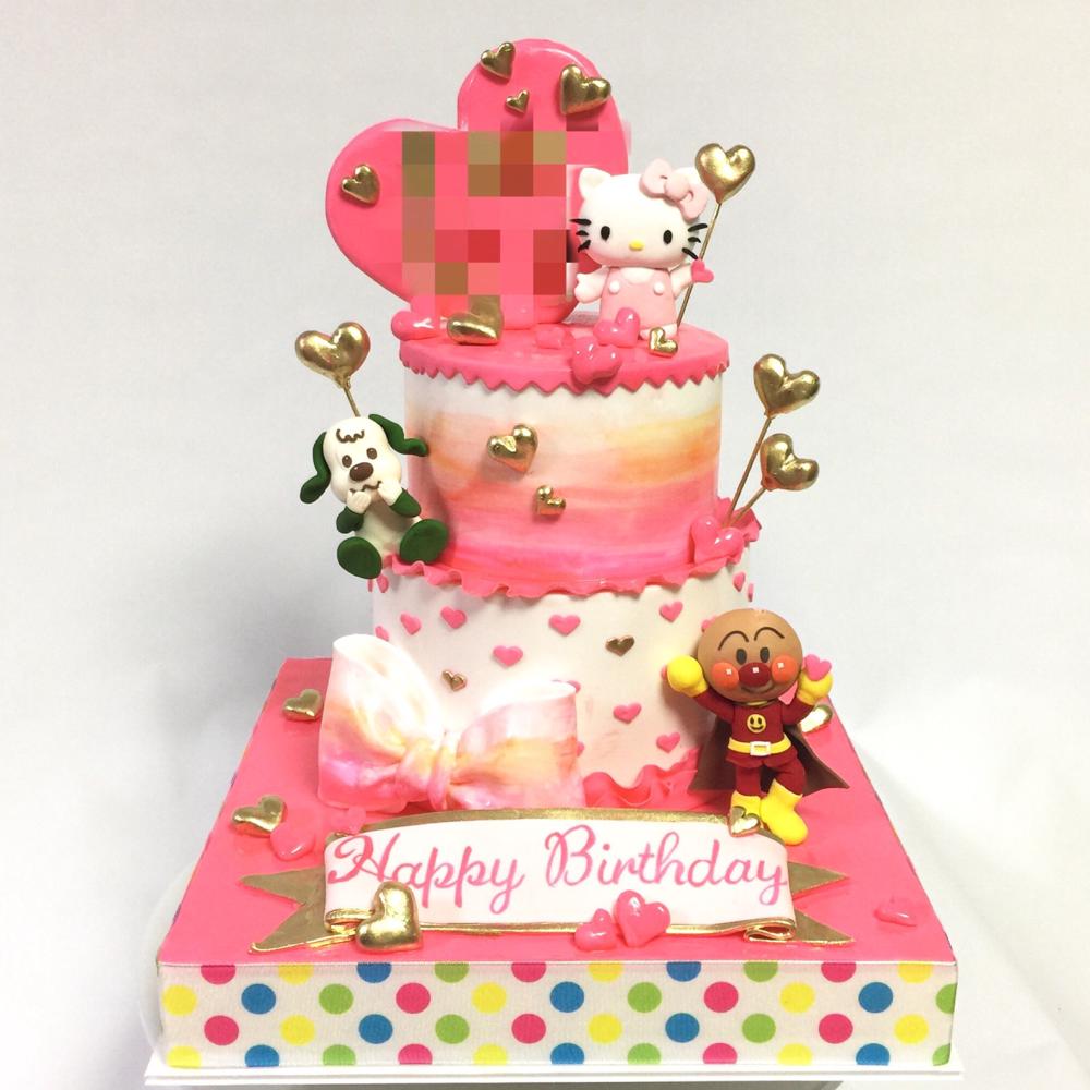 女の子のお誕生日ケーキ🍰 #女の子 #誕生日ケーキ #2段 #キティちゃん #ワンワン #アンパンマン #キャラクター #可愛い #ハート #ピンク #girlscake #pink #anpanman #hellokitty #wanwan #kawaii #character #cake #gateau #torta #ケーキ #handmade #🇯🇵