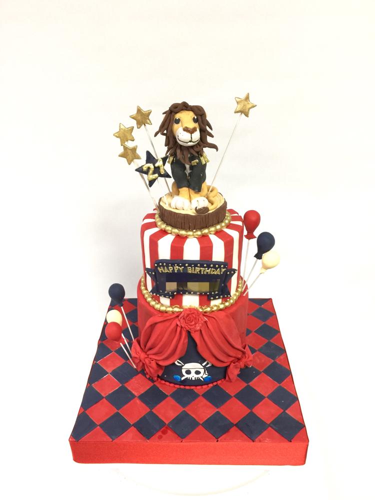 #サーカス #🎪 #イメージ #2段ケーキ #ライオン #衣装 #ライブ #誕生日ケーキ #赤 #紺 #白 #手しごと #手作業 #handmade  #Lion #circus #circuscake #fondantfigure #fondantcake #bdcake #pateasucre #pastadizucchero #sekerhamuru #🇯🇵 #Japan