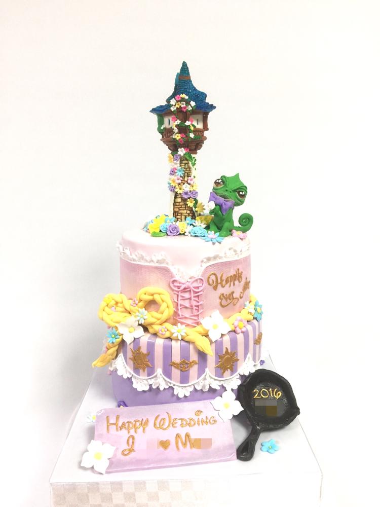#ラプンツェル #塔の上のラプンツェル #ラプンツェルドレス #ドレスイメージ #2段ケーキ #ラプンツェル風  #フライパン #👑 #🎂 #🇯🇵 #Rapunzel #cake #fondantcake #wedding