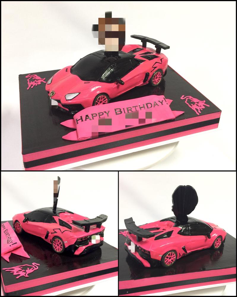 カッコ良すぎなピンク! ランボルギーニ・アヴェンタドール・スーパーヴェローチェ・ロードスター 型ケーキ🎂 実物はすご凄いド迫力だろうなぁ💕 (ピンク色が本物はもっといい色、ケーキでは難しい色のピンクでした😋) #かっこいい車 #ピンク #ランボルギーニ #アヴェンタドール #アヴェンタドールsv #本物みてみたい #憧れる #スーパースポーツカー  #車ケーキ #lamborghini #aventador #aventadorroadster #aventadorsv #carcake #roadster #sportscar #cake #torte #gateau #ケーキ