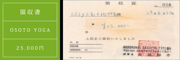 領収書|オソトヨガ2017|2017.06.30