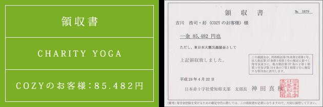 領収書|チャリティーヨガ2011(春)|2011.04.22|cozyのお客様より