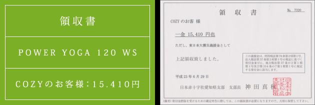 領収書|パワーヴィンヤサヨガ120 WS|2011.06.29|cozyのお客様より