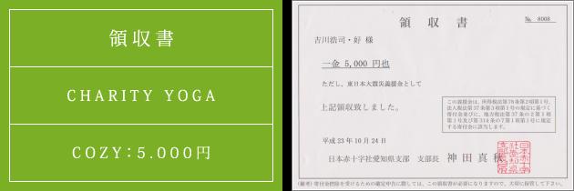 領収書|チャリティーヨガ2011(秋)|2011.10.24|cozyより