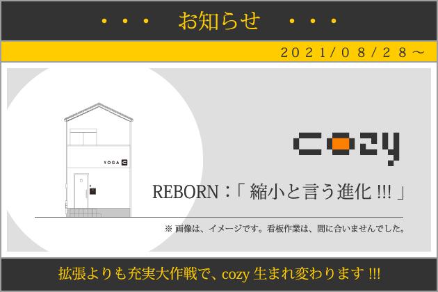 cozy|ヨガスタジオ|REBORN:「 縮小と言う進化 !!! 」
