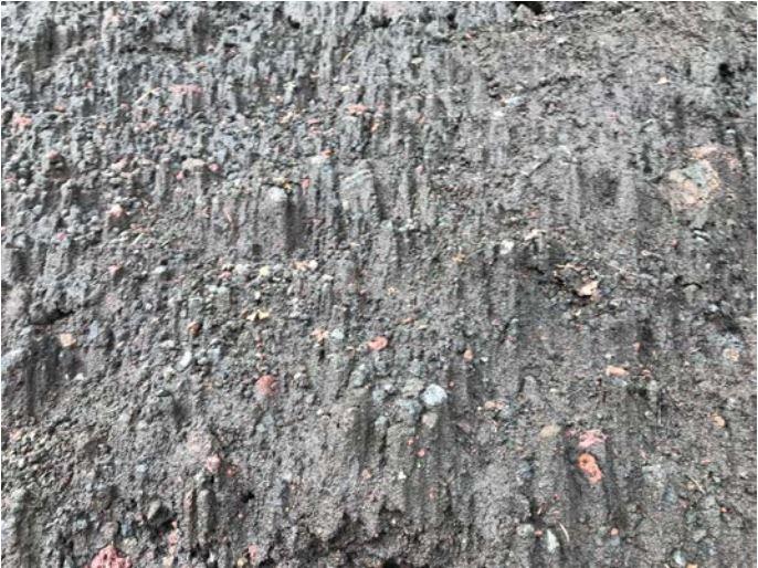 Figure 1: Micro earth pyramids erosion pattern near the begin of the Yoshida Trails, Mt Fuji (Aug 11 2018)