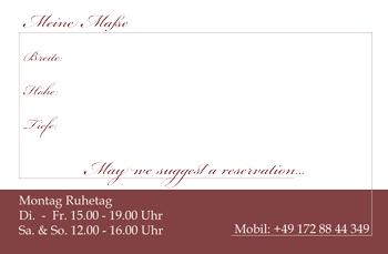 Rückseite der Visitenkarte als Merkzettel für Möbelmaße gestaltet
