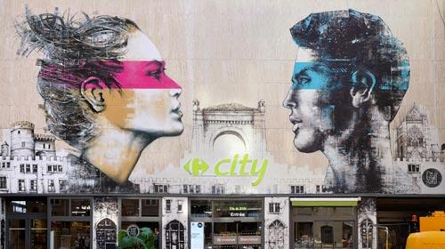 """<alt=""""art streetart facade géante peinture murale festival des constellations de metz france french artist urbaan art urbain facade graffiti art carrefour city streetart metz région lorraine grand est"""">"""
