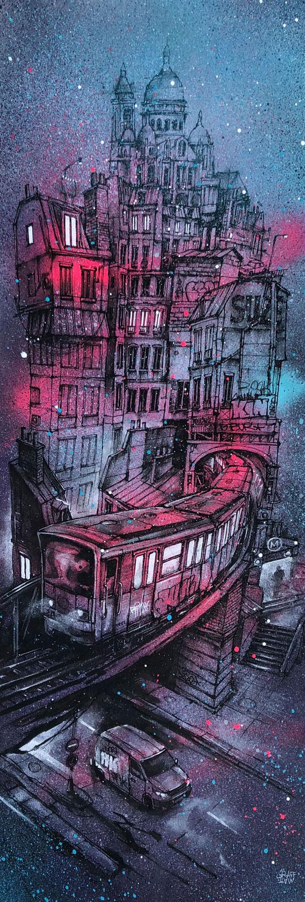 """<b>CIRCUIT NOCTURNE</b><br>95x 30 cm<br><a style=""""color:#db6464;"""">Vendu</br></a><alt=""""graffiti artist paris ville toits de Paris métro aérien nuit tableau d'art contemporain urbain graffmatt"""">"""