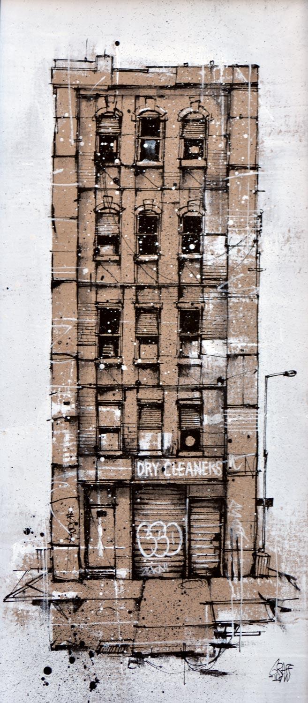 "<b>DRY CLEANERS</b><br>52 x 25 cm<br><a style=""color:#db6464;"">Vendu</br></a><alt=""art peinture streetart urbain ville facade urbaine contemporain nyc newyork carton"">"