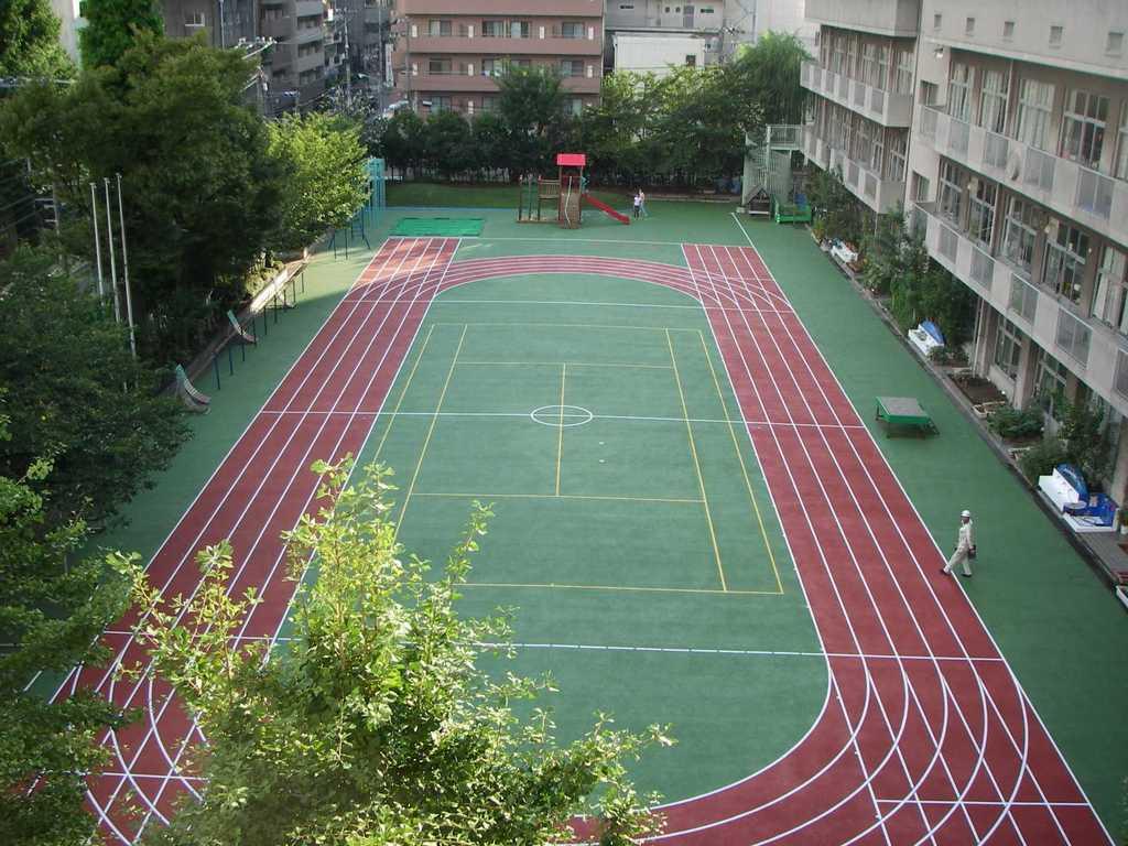 全天候型ゴムチップ校庭舗装 中央区立月島第三小学校