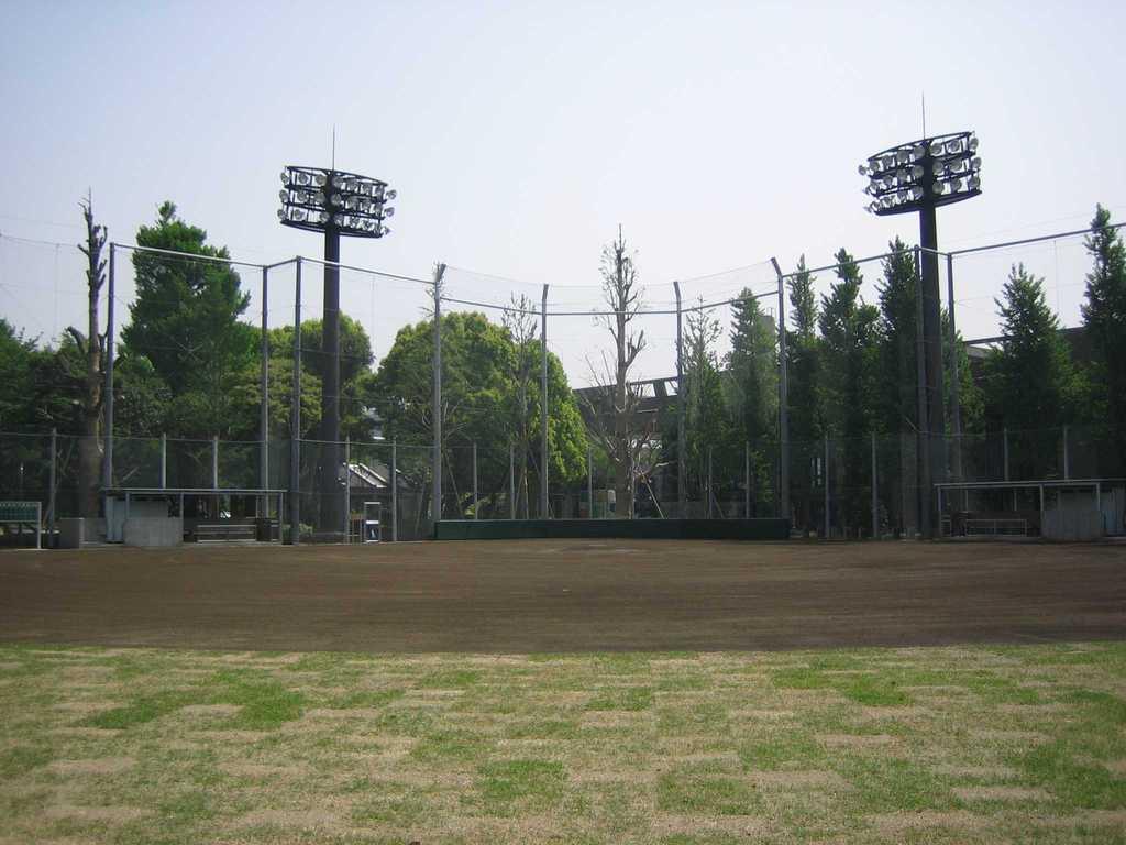 内野クレイ舗装、外野芝生舗装、H12m防球ネット 上野恩賜公園正岡子規球場