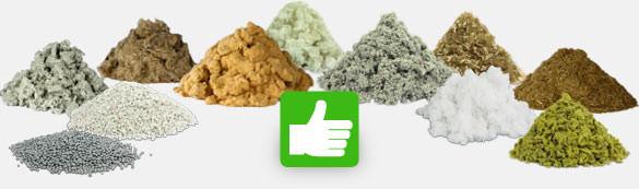 Einblasdämmstoffe, Zellulose, Holzfaser, Steinwolle, Glaswolle, EPS Granulat, Zellstoff, Perlite, Stroh, Schafwolle