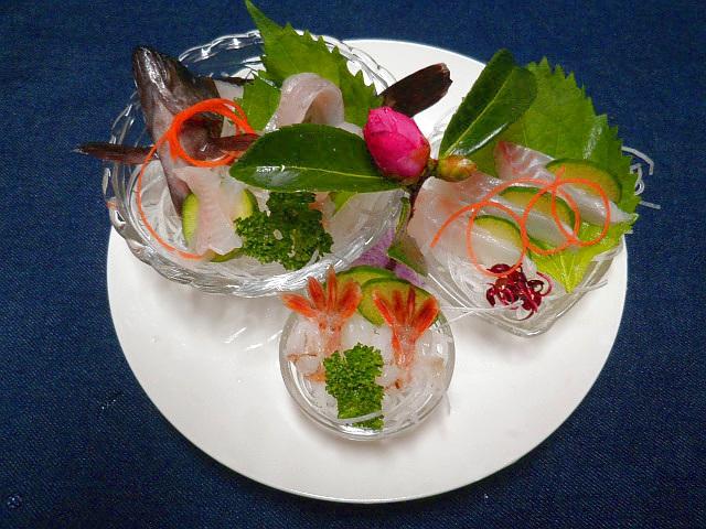 #突き出し3種 海のもの #メバル #モサエビ #キジハタの刺身 #酒の肴用に