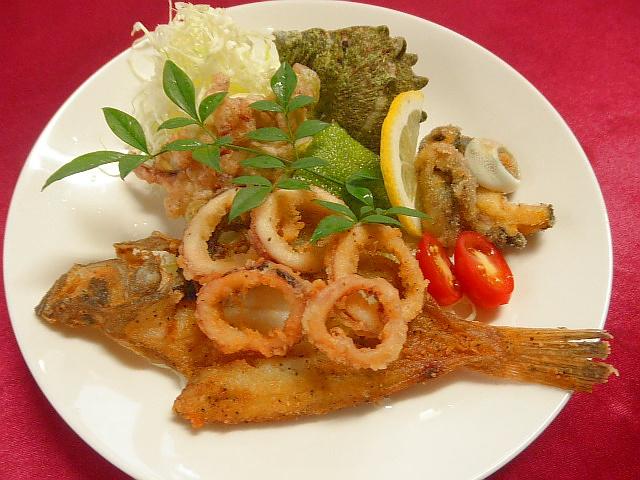 #海の幸フリット #食材 #エテカレイ #マイカ #サザエ #野菜を強力粉で揚げる