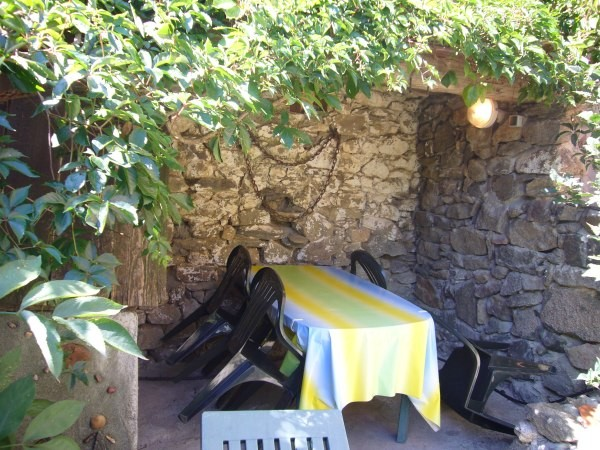 The garden furniture, under the wisteria