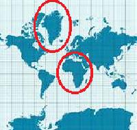 Flächenverzerrung einer Mercator-Projektion
