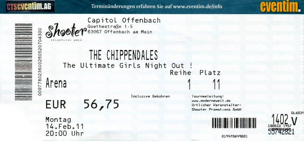 Chippendales Eintrittskarte