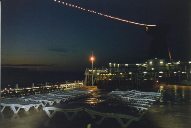 letzte Nacht an Deck der Ocean Monarch