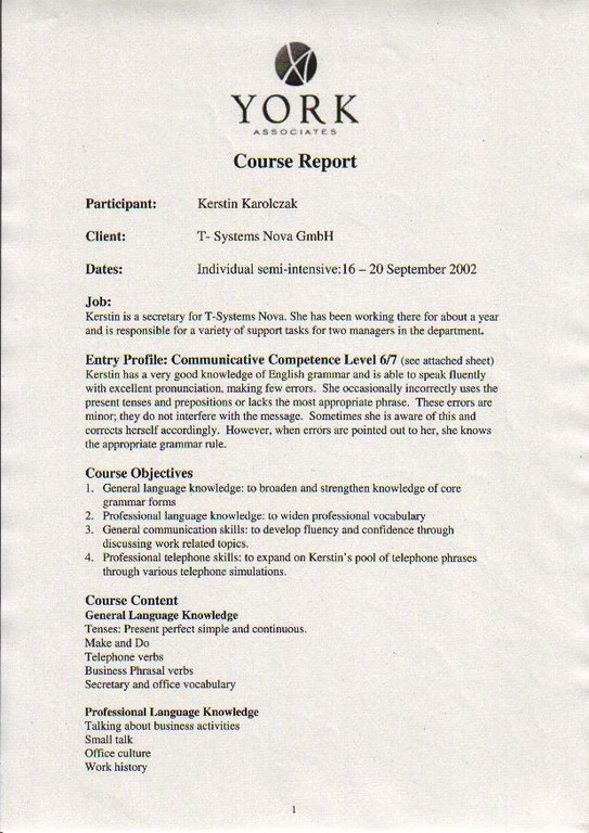 20020916_Englisch_York_UK_Course Report_Page 1