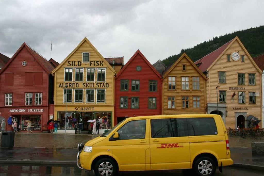 Bild 3083 - Norwegen, Bergen, Bryggen im Regen