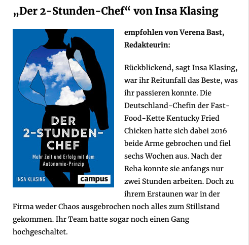 Buchempfehlung zu Weihnachten von Verena Bast auf  impulse.de