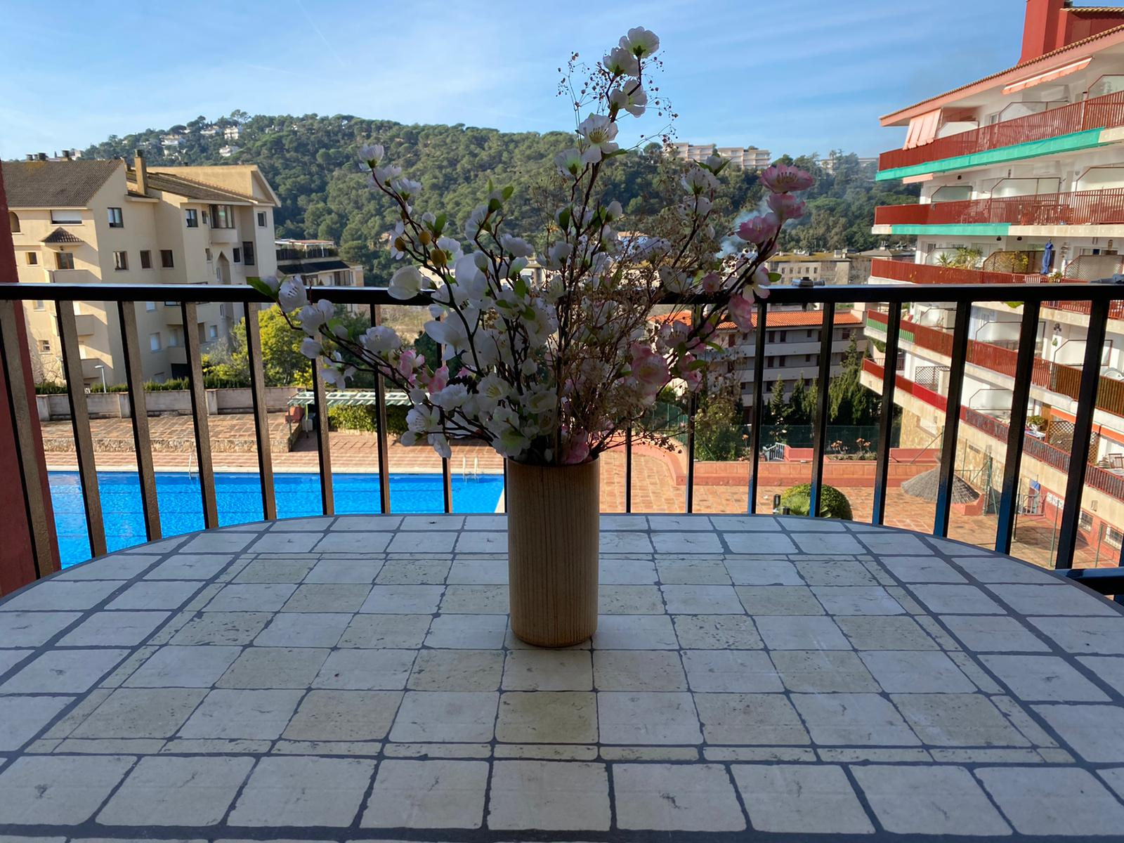 Terrasse avec vue sur la piscine