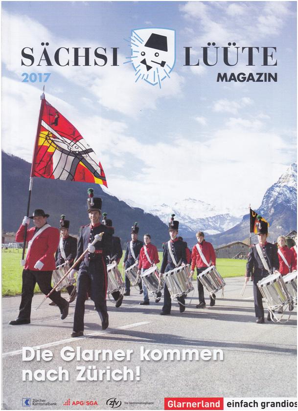 Magazin und Festschrift - im Zeichen von Glarus und den Glarnerinnen und Glarnern. Glarner Tambouren als lautstarkes Asuhängschild! Titelbild des Magazins.