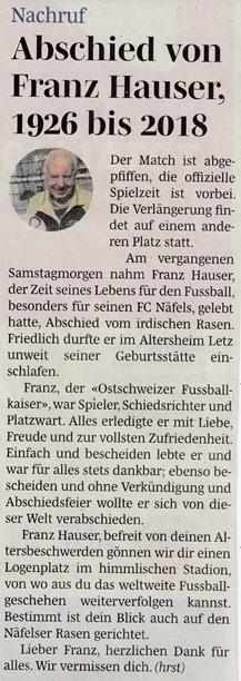 """Der langjährige Näfelser Fussballpionier Franz Hauser gestorben. Kurznachruf von (hrst) in """"Südostschweiz""""- Glarus Dienstag, 16. Januar 2018, Seite 9"""