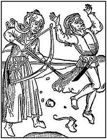 Hexenschuss in einer Darstellung um 1490. (Quelle: Wikipedia)