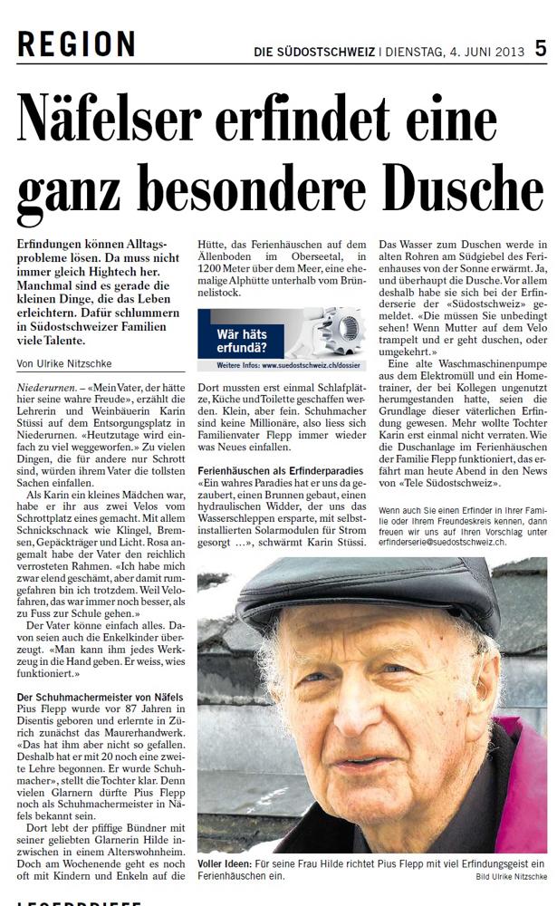 Pius Flepp - ein Tüftler wie keiner weit und breit (Quelle: Südostschweiz-Glarus, 4. Juni 2013, S. 5)