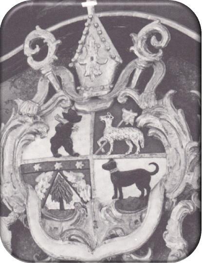 Kartouchen zwischen Ober- und Hauptbild am Hochaltar der Hilariuskirche, das Wappen des Spenders  Fürstabts Beda Angehrn.
