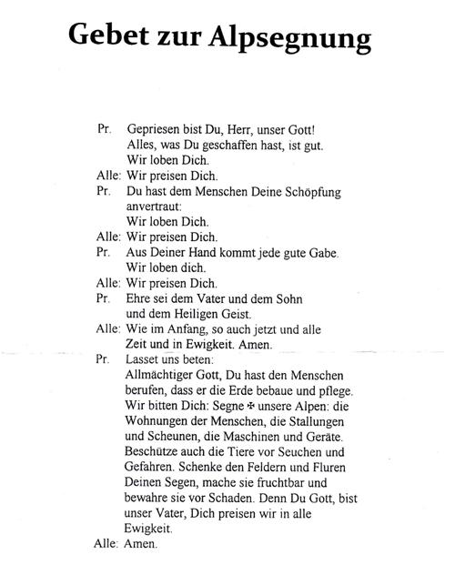 Originaltext der Alpsegnung am 2. Juli 2917 (Dekan Pfr. Harald Eichhorn)