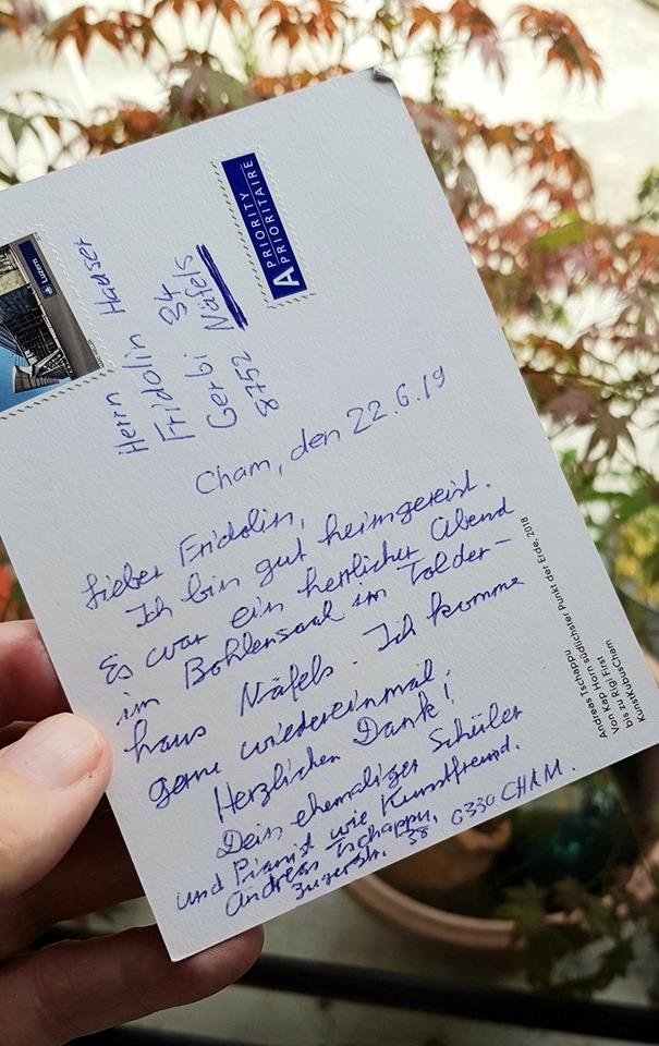 Grusskarte post festum eines Teilnehmers aus Cham.