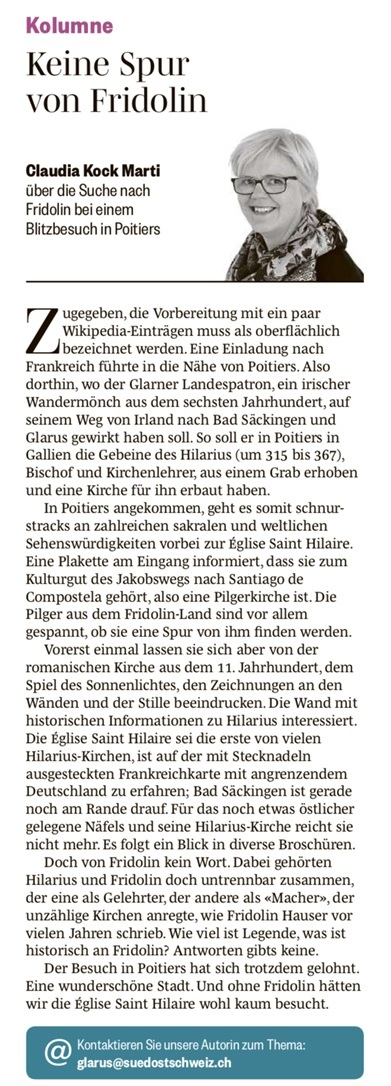 Glarner Nachrichten/Südostschweiz Glarus, Mittwoch 24. Juli 2019, Nr. 170, Seite 12.